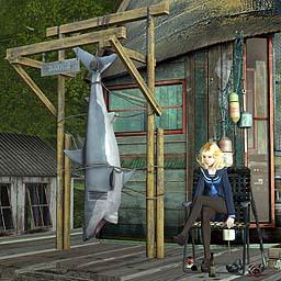 漁村の吊り鮫